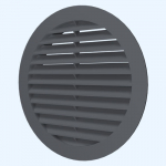 Решетка круглая 10РКН серая, наружная вентиляционная D100, ASA-пластик
