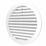 Решетка круглая 10РКН белая, наружная вентиляционная D100, ASA-пластик